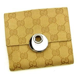 Gucci Wallet Purse Folding wallet GG Beige Red Woman unisex Authentic Used